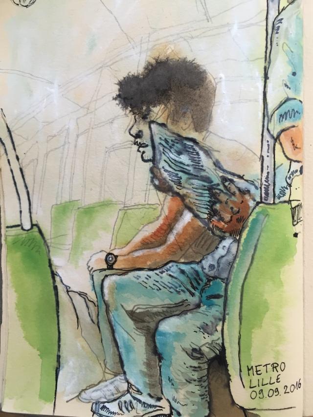 Croquis réalisé dans le métro lillois - crayon, encre, plume - dessiné le 9 sept 2016 - Au début, j'avais voulu dessiner le gros homme au premier plan qui lisait le journal, puis j'ai rajouté le jeune homme, puis j'ai rajouté le reste...