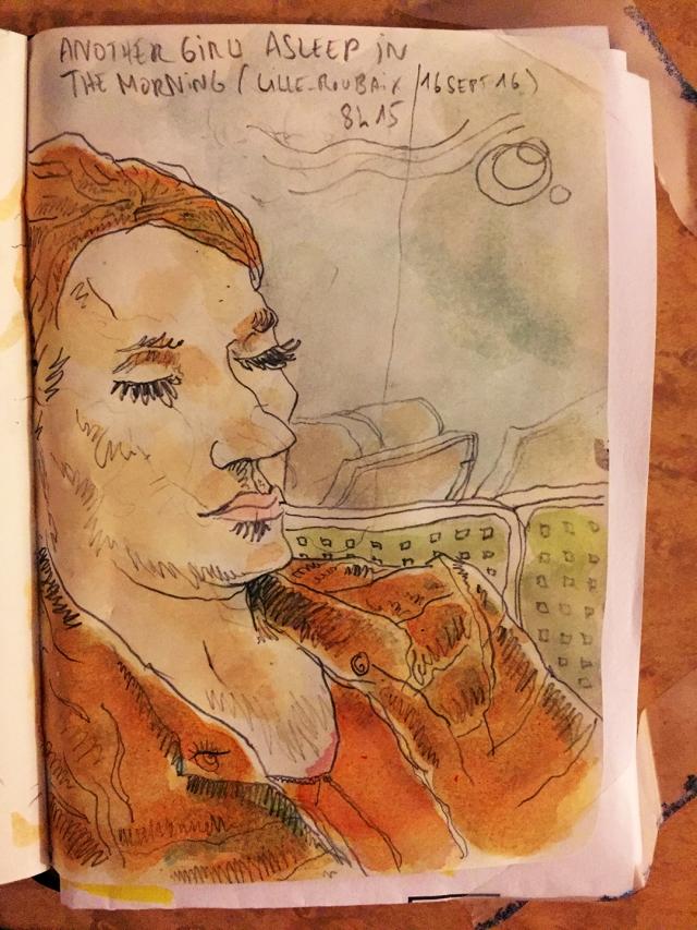 Femme dormant dans le tramway entre Lille et Roubaix - 16 sept 2016 - crayon et encre acrylique